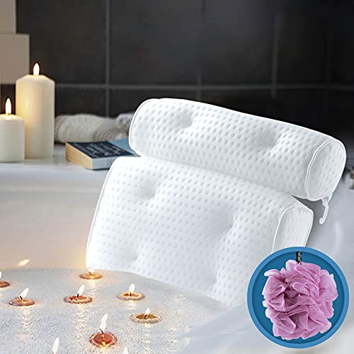 Luxury Bath Pillow for Bathtub, ZMteam Non-Slip Bathtub Spa Pillow Headrest with 6 Strong Suction Cups, Breathable 4D Air Mesh Bathtub Cushion Tub Pillow for Neck and Back Support