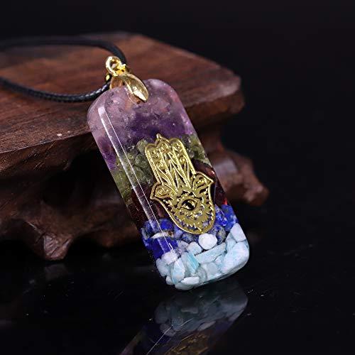 Colgante de resina de cristal Hamsa mano collar Fátima inteligente joyería resina artesanía colgante