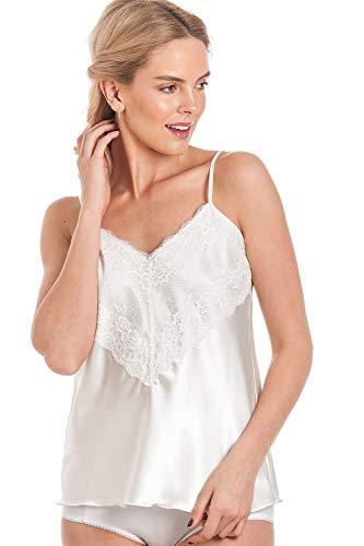 Ladies Womens Satin Camisole Vests Top Deep Lace Detail Vest Lingerie UK...