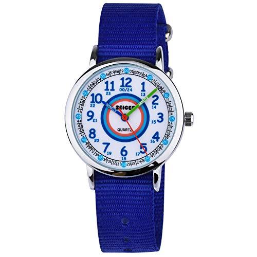 Orologio da polso impermeabile cinturino in nylon orologio zeiger quarzo analogico orologi tempo insegnante per ragazze ragazzi regalo di compleanno w109 (blu)