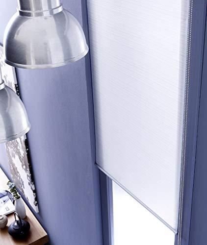 MADECOSTORE - Estor enrollable a rayas sin taladrar, gama Must – Blanco – 66 x 170 cm