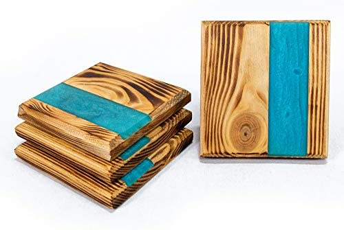 Mirana Set of 4 Epoxy Wood Drink Coasters Wooden Coasters for Drinking Glasses Tabletop Protection product image