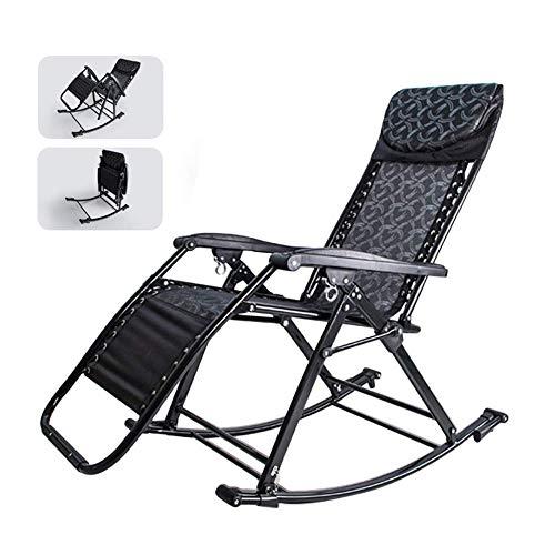 Fotel bujany ogrodowy dla dorosłych Leżak ogrodowy grawitacyjny dla ciężkich ludzi, składany bujak do tarasu ogrodowego tarasu przednich drzwi, podpora 150 kg (kolor: bez poduszki)