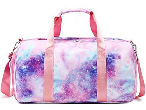 Bolsa de deporte para niñas y adolescentes con compartimentos para ropa húmeda, para baile, natación, pijama, noche y semana, bolsa de viaje, 03-Galaxy Pink,