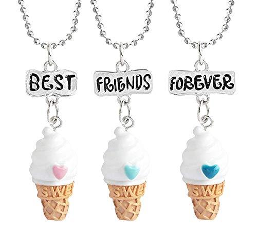 Drie meisjeskettingen - voor altijd - vriendschap - ijs x 3 - beste vrienden voor altijd voor 3 - kerst - bff - zilver - origineel cadeau-idee best friends forever