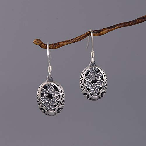 THTHT Aretes De Plata Esterlina 925 Mujeres's Vintage Accesorios Mate Hollow Carved...