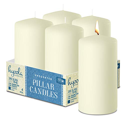HYOOLA Ivory Pillar Candles 2-inch x 4-inch - Unscented Pillar Candles - Set of 4 - European Made