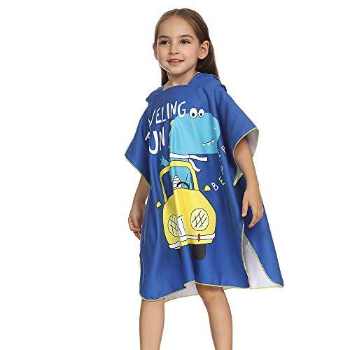 Topgrowth - Toalla infantil de dibujos animados, manta de peluche, absorbente, para recién nacido, con capucha, toalla de baño, pijama turquesa Talla única