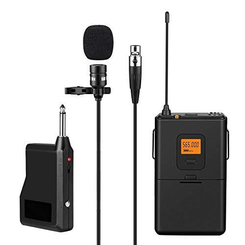 Mikrofon Yuan Ou Drahtloses 20-Kanal- Ansteckmikrofonsystem mit Bodypack-Sender, Mini- Ansteckmikrofon und tragbarem Empfänger für Kamera und Telefon