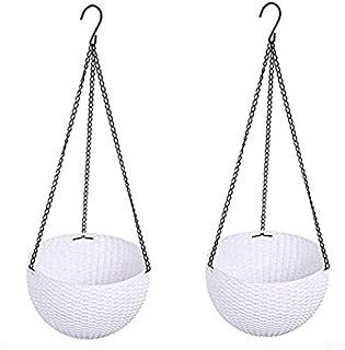 Hanging Basket Rattan Plastic Flower Pot Round Resin Garden Hanging Planter for Indoor Outdoor Plants,2 Pack White Small Size (6.5in x 4.5in