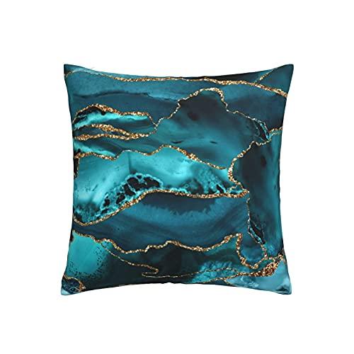 RETRUA Fundas de cojín de mármol ágata verde azulado y dorado para el hogar, decoración para sala de estar, dormitorio, sofá silla, 45 x 45 cm