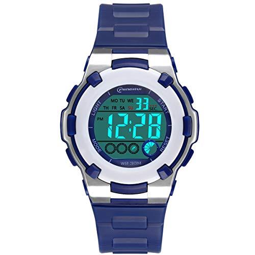 Relojes Infantiles para Niños, Reloj Deportivo Digital al Aire Libre a Prueba de Agua con Alarma/Cronómetro, Relojes de Pulsera Digitales Infantiles para Niños (Azul Oscuro-1)
