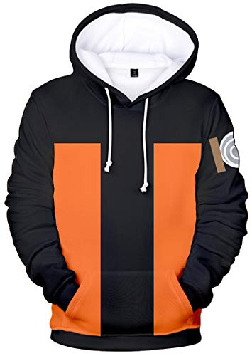 Silver Basic Naruto Druck Hoodies Sweatshirt Kapuzenpullover Japanische Ninja Anime Pullover,Naruto,L-4…