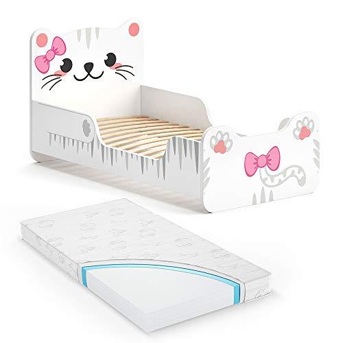 VitaliSpa Kinderbett IZZY 80x160 cm Weiß Juniorbett Jugendbett Katze Mädchenbett inkl. Matratze