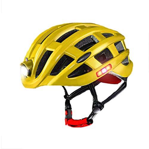 AOVOI Casques VTT et VTCCasque de vélo avec Avertissement Lumineux lumière Insect-Proof Net Mountain Road Casque d'équitation équipement Hommes et Les Femmes,Jaune