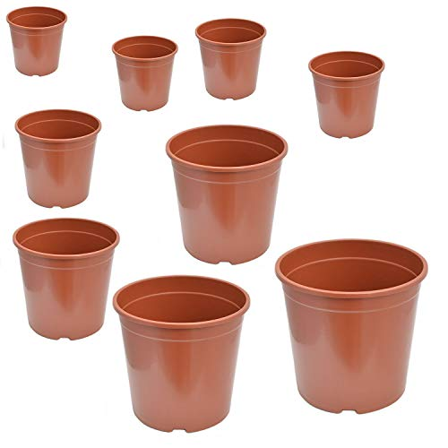 Blumentopf Pflanztopf Pflanzcointainer Anzuchttopf Containertopf Kunststoff Terracotta 24 cm - 5er Pack