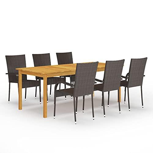 vidaXL Gartenmöbel Set 7-TLG. Sitzgruppe Gartengarnitur Sitzgarnitur Gartenset Esstisch Tisch Stühle Sessel Gartensessel Gartentisch Braun