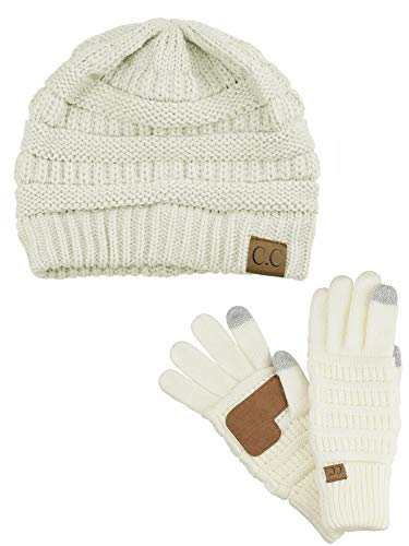 C.C Unisex Soft Stretch Cable Knit Beanie and Anti-Slip Touchscreen Gloves 2 Pc Set, Ivory