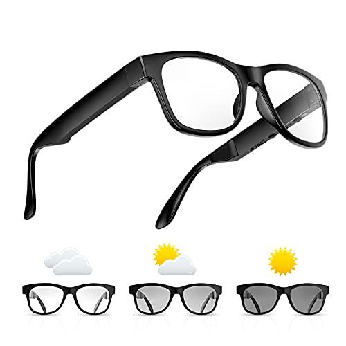 Bone Conduction Glasses, Open-Ear Headphones Bluetooth, Photochromic Sunglasses Anti Blue Ray, IP6...