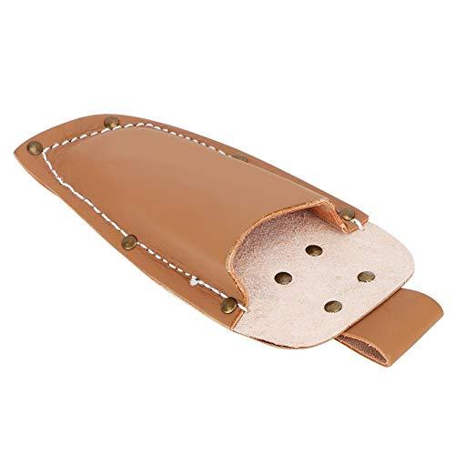 Oumefar Bolsa de poda de Mano de Obra de Costura de precisión Duradera Piel de Vaca 1 Pieza con un botón de Bloqueo para Trabajos de jardín(Brown)