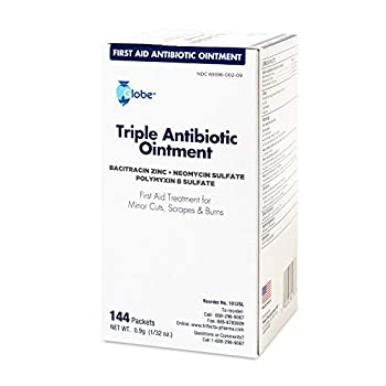 Globe Triple Antibiotic Ointment .9gr Packets  Box of 144  Essential Triple Antibiotic First-Aid Supplies for Home and on The Go| 24 Hour Infection Prevention | Made in USA