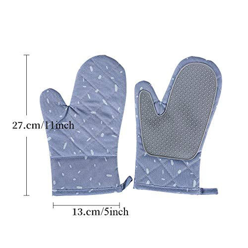 PIKA PIKA QIO Haushalt Essential Anti-Verbrühungshandschuhe Baumwolle und Silikon Hochtemperatur-Anti-Hot-Handschuhe Backofen Mikrowelle Küche Schutzhandschuhe (Farbe : Blue, Größe : L)