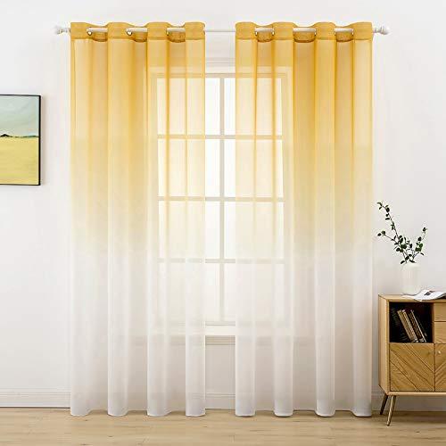 MIULEE Sheer Vorhang Voile Farbverlauf Dekoschal Vorhänge mit Ösen transparent Gardine 2 Stücke Ösenvorhang Gaze paarig Fensterschal für Wohnzimmer 245 cm x 140 cm(H x B) 2er-Set Orange-weiß