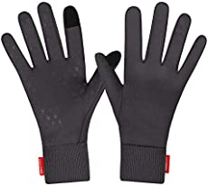 Forhaha Waterproof Splash-Resistant Sports Running Gloves - Touch Screen Lightweight Liner Gloves for Running, Walking, Cycling, Working - Outdoor for Men Women in Winter Or Fall, Dark Grey, L