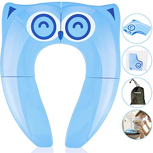 Gimars Foldable Potty Toilet Training Seat for Baby Children Upgrade Portable Travel Baby Toilet Training Seat with 6 Antislip Silicone Pads & Carry Bag (Blue)