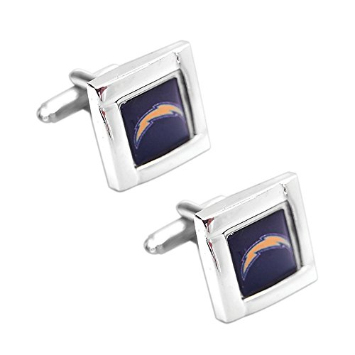 aminco NFL LA Los Angeles Chargers Sports Team Logo Square Cufflinks with Square Shape Logo Design Gift Box Set