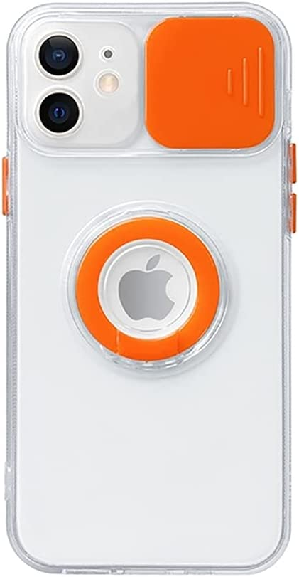 Caseative Candy Color Ring Holder Slide Lens Camera Cover Protection Clear Soft iPhone Case (Orange,iPhone 8/7 / SE)