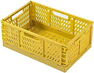 LCM Boîte de Rangement en Plastique Pliable Pliante Panier Panier empilable Maison paniers de Rangement (Color : Yellow, T...