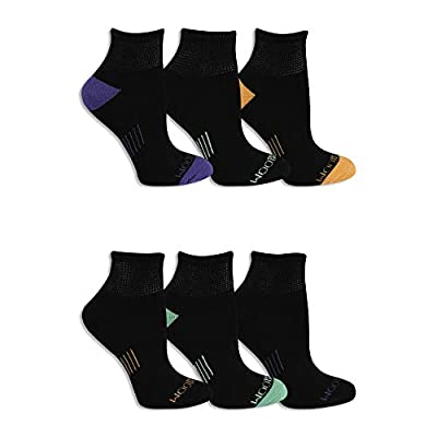 Fruit of the Loom Women's Everyday Active No Show Socks-6 Pair Pack, Grey,Blue, Pink, Melon, Shoe Size: 4-10