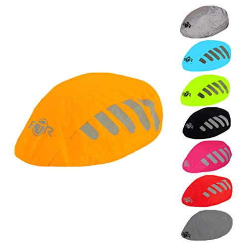 BTR High Visibility Orange Universal Size Bike/Bicycle Waterproof Helmet Cover with Reflective Stripes - One Size Fits All