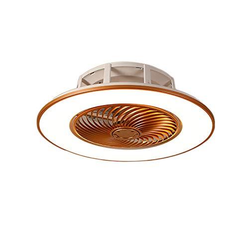 YIYUN Moderno Lámpara De Techo Cambio De 3 Colores Luces Ventilador De Techo Led con Mando a Distancia 3 Velocidades Luces Lámpara De Techo con Ventilador para La Oficina En Casa,Oro