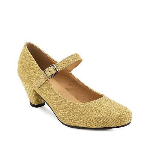 Andres Machado - Mary Jane Damenschuhe für Mädchen mit 5,0 cm Absatz – AM538 – Hohe Schuhe Damen/Pumps Blockabsatz – aus goldenem Stoff - EU 33