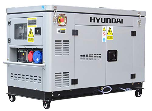 HYUNDAI Silent Diesel Generator DHY12000XSE-T D, Notstromaggregat mit 12.5 kVA (400 V) / 10.0 kW (230 V) Leistung, Stromerzeuger für Baustellen, Stromgenerator für Notstromversorgung, Stromaggregat.
