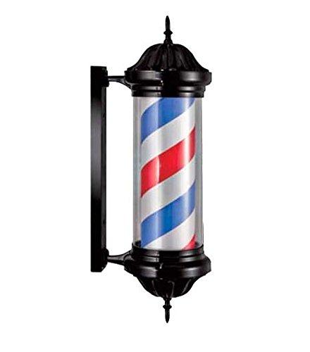 Poste de Barbero con forma de flecha luminoso y con rotación para peluquerías - bandas rojas blancas azules 23x80 cm