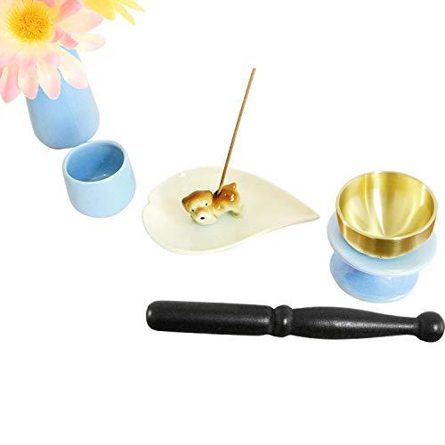 ペット仏具 6点セット ブルー おりん(こりん) イヌ型 お線香立て ハート型 お香皿つき