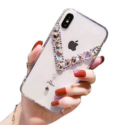 LCHDA Strass Hülle für Samsung Galaxy S20 Ultra 6,9 Zoll Bling Glitzer Diamant Glänzende Klar Kristall Steine Weich TPU Silikon Stoßstange Transparent Schlank Hart Plastik Schutzhülle - Vertikal V
