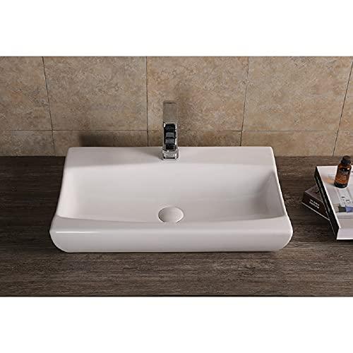 Lavabo de lavabo ovalado, redondo, recto, cerámica, blanco (7095 620 x 390 x 115)