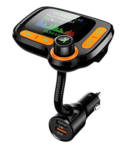 """Bluetooth FM Transmitter Car Adapter,Support Wireless Handsfree Call and MP3 Music/APP Audio Play,1.8"""" Color Screen,3 USB Charger,3.5mm AUX Port,Compatible with iPhone,iPad,Samsung and More"""