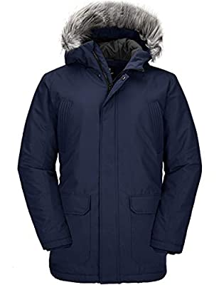 Wantdo Men's Zip Up Winter Coat Fur Hooded Long Parka Puffer Jacket Navy M by Wantdo