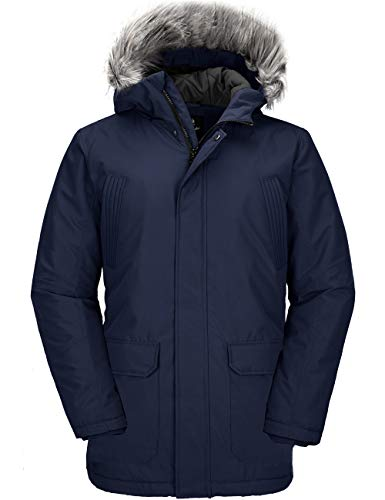 Wantdo Men's Winter Jackets Puffer Cotton Lined Quilted Warm Parka Coat Navy L