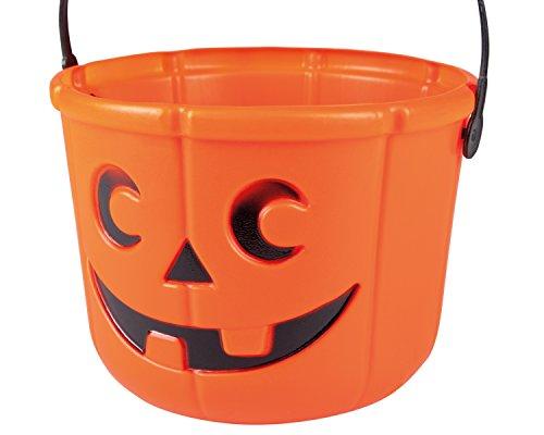 Boland-65454 Cestino Zucca Halloween 'Dolcetto o Scherzetto' per Bambini, Arancione, 14x18 cm, 74553