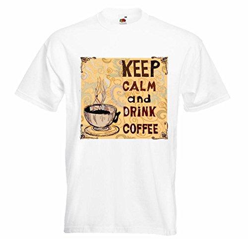 T-shirt Remera Keep Calm en dranken, koffie, cappuccino, koffie, latte del Café Express, American de melk Chocolate, koffiemok met calorieën, dieet, slankheidsdiët, Figura APTITUD IMC ENGRASAMIE