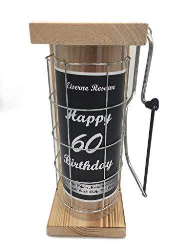 Happy Birthday 60 Eiserne Reserve Spardose incl. Säge zum zersägen des Gitter, Geldgeschenk, das andere Sparschwein, witzige Sparbüchse, Geschenkidee