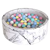 Wonder Space Deluxe Kids Round Ball Pit, Premium Handmade Kiddie Balls Pool, Soft Indoor Outdoor Nursery Baby Playpen, Ideal Gift Play Toy for Children Toddler Infant Boys and Girls (Marble)