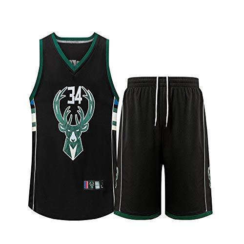 XWNZ Basketball-Trikot-Giannis Antetokounmpo Milwaukee Bucks # 34, ärmelloses Herren-Set, Unisex-Oberteil + Shorts1SetEmbroidery MeshBreathable und bequemes Basketball-Jersey-Set-Black-L(155~165CM)