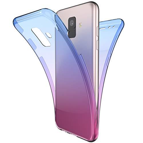 Coque Galaxy A8 2018 Intégral 360 Degres avant + arrière Full Body Protection Couleur de dégradé Transparente Silicone Gel TPU Souple Housse Etui Case Coque pour Galaxy A8 2018,Bleu Violet